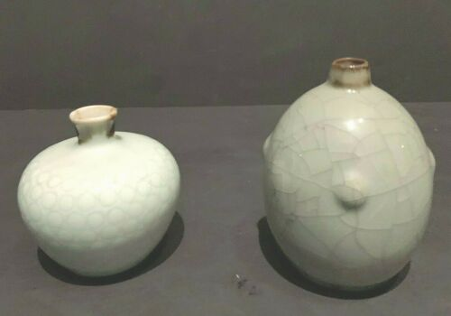 Pair Early Antique Chinese Celadon Porcelain Vases