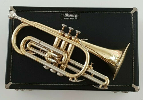 CORNET BLESSING B120 in Bb with Gold Lacquer Body & Hard Case ~ Student Outfit
