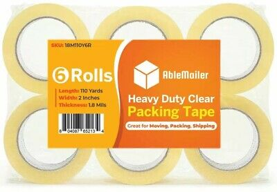 6 ROLL CLEAR CARTON SEALING PACKING SHIPPING TAPE 2