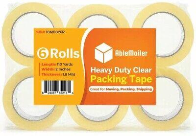 6 Roll Clear Carton Sealing Packing Shipping Tape 2 1.8 Mils 110 Yard 330