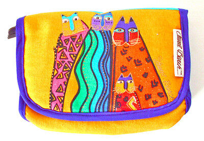 Laurel Burch Cats Makeup Cosmetic Pouch Mirror Feline Friends Small Bag OOP HTF