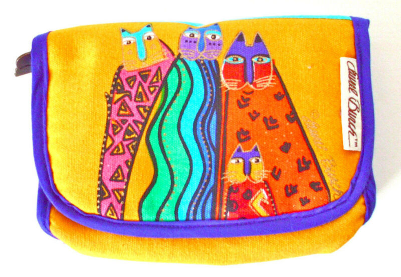 Laurel Burch Cats Makeup Cosmetic Pouch Mirror Feline Friends OUT OF PRODUCTION