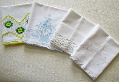 FOUR Antique White Hand-Embroidered Handmade Lace Pillowcases -Different Designs