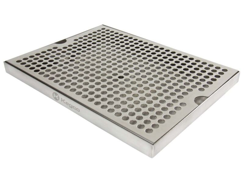 """Kegco SESM-129D Stainless Steel 12"""" x 9"""" Surface Mount Drip Tray with Drain"""