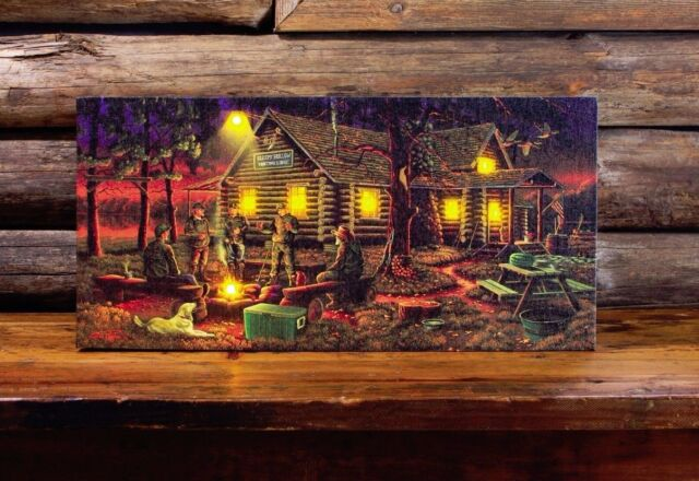 Cabin Wall Art cabin hunters campfire led lighted canvas wall artradiance