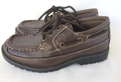 Sperry Shoal 3 Eye Boat shoes pebbled leather Brown Boy's Size 4 Excellent Cond Pebbled Leather Kids Shoes