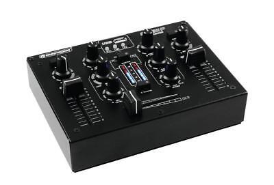 OMNITRONIC PM-211P DJ-MIXER MIT PLAYER 2-KANAL MISCHER MP3 PLAYER USB STEREO LED