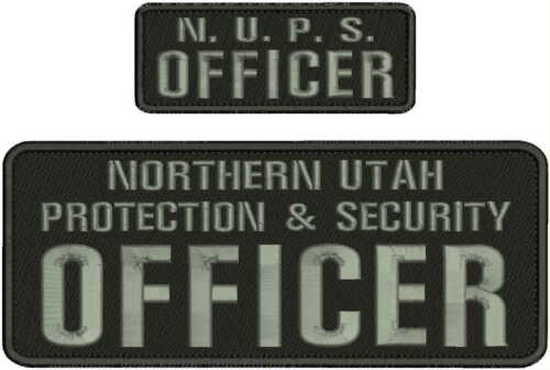 N.U.P.S. OFFICER EMBROIDERY PATCH 4X10 AND 2X5 HOOK ON BACK BLK/GRAY