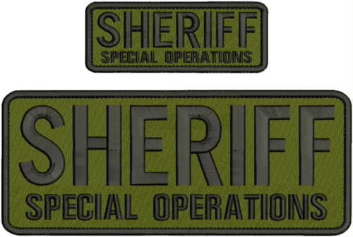 SHERIFF SPECIAL OPERATIONS  EMBRIDERY PATCH 4X10 AND 2X5  hook on back od/blk