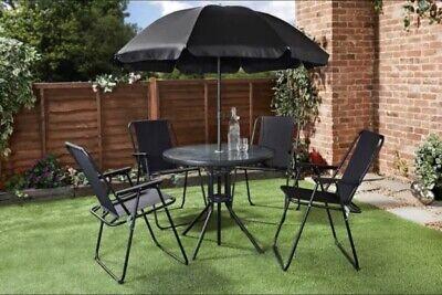 6 Piece Garden Furniture Set Dining Table 4 Chairs Seats + Parasol Patio Black