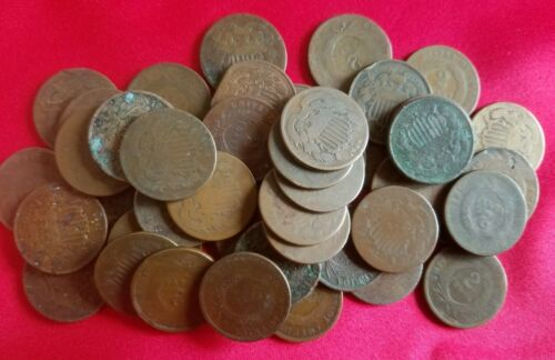 (1) Early U.S. Two Cent CULL Coin / 2 Cent Piece / 1864-1873 / Old Antique Money