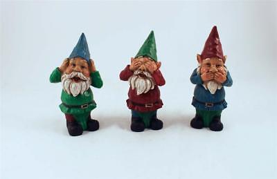 3 GNOMES NO EVIL GARDEN DECOR  RESIN 9 in. HEAD ON SPRINGS BOBBLE new