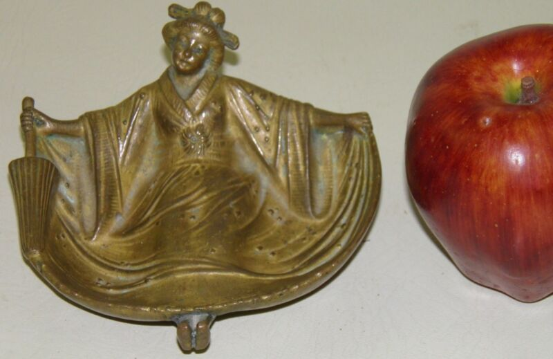 ANTIQUE Naughty Nude Bronze Asian Lady Trinket Holder