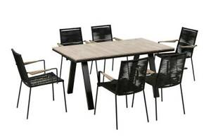 OUTDOOR BLACK ASTA & COVE 7 PIECE DINING SETTING