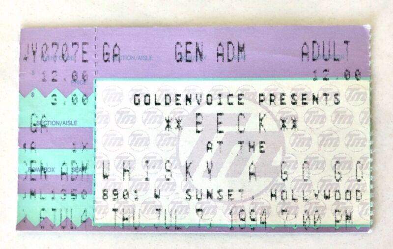 1994 BECK MELLOW GOLD TOUR CONCERT TICKET STUB WHISKY A GO GO HOLLYWOOD