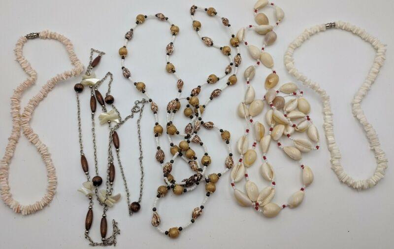 5 Vintage Seashell Necklaces Puka MOP etc