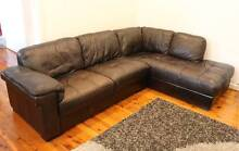 Genuine Leather Sofa Lounge + Chaise Willoughby Willoughby Area Preview