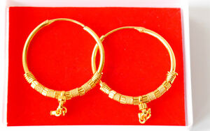 Real looking 22 K gold plated MAKARA  EARRINGS - Indian ROUND HOOP  Style hc17