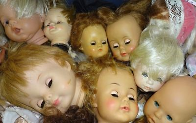 GRAB BAG Lot ~ 10 Creepy Scary Old Doll Heads Halloween Props Sleepy Eyes & More](Scary Halloween Eyes)