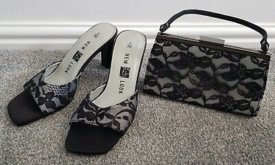 New Look size 3 formal grey with black lace open toe shoe and matching bag