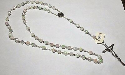 Vintage 1960's NOS Sterling Silver & 6mm Mother-of-Pearl Bead Scapular Rosary