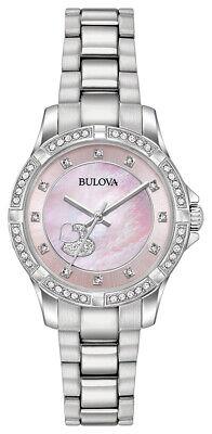 Bulova Women's 96L237 Crystal Heart Pink Dial Silver-Tone Band 30mm Watch