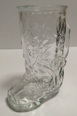 Vintage Clear Cowboy Boot Drinking Glass Beer Mug Mexico (Cowboy Boot Drinking Glasses)