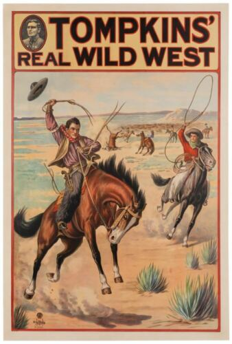 Vintage Tompkins Real Wild West Show Donaldson Litho Cowboys Roping Cattle