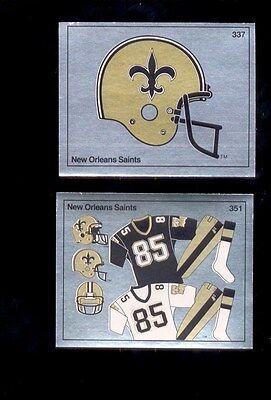 1988 Panini NEW ORLEANS SAINTS Football Foil Helmet and Uniform Sticker Set