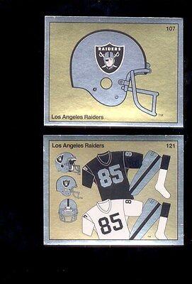 1988 Panini OAKLAND RAIDERS Football Foil Helmet and Uniform Sticker Set (Oakland Raiders Uniformen)