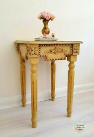 Decoupage Fleur Scroll Table, Crackle Beige Wooden Vintage Table, Side End Table, Shabby Chic