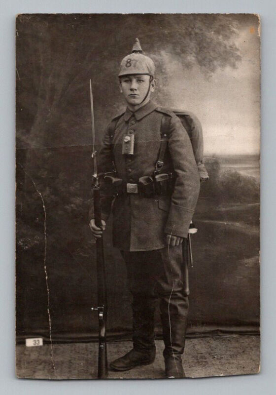 WW1 GERMANY Real Photo RPPC Postcard SOLDIER Pickelhaube TORCH FLASHLIGHT Rifle