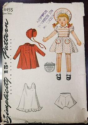 UNCUT VTG 40s SIMPLICITY #4455 Cloth Rag Doll & Clothes PATTERN