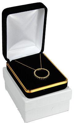 Black Velvet Pendant Necklace Earrings Jewelry Gift Box 2 14 X 3 X 1 14h
