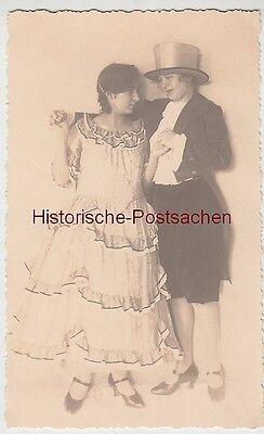 (F8730) Orig. Foto Damen im Kleid, Frack und Zylinder, Kostüme, (Frack Und Zylinder Kostüm)