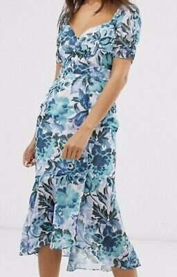 Hope & Ivy Milkmaid Midi Dress Button Front Blue Floral Size UK10/US6