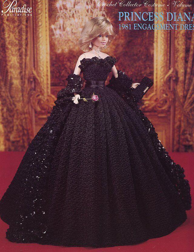 Princess Diana 1985 White House Dance Dress for Barbie Paradise Crochet PATTERN