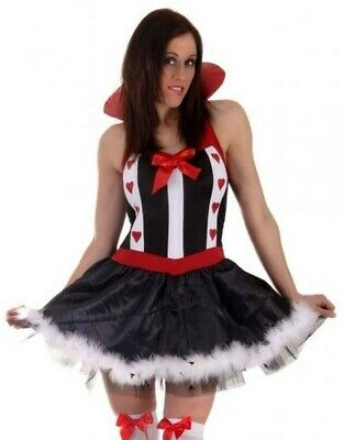 LADIES QUEEN OF HEARTS ALICE IN WONDERLAND FANCY DRESS costume HALLOWEEN