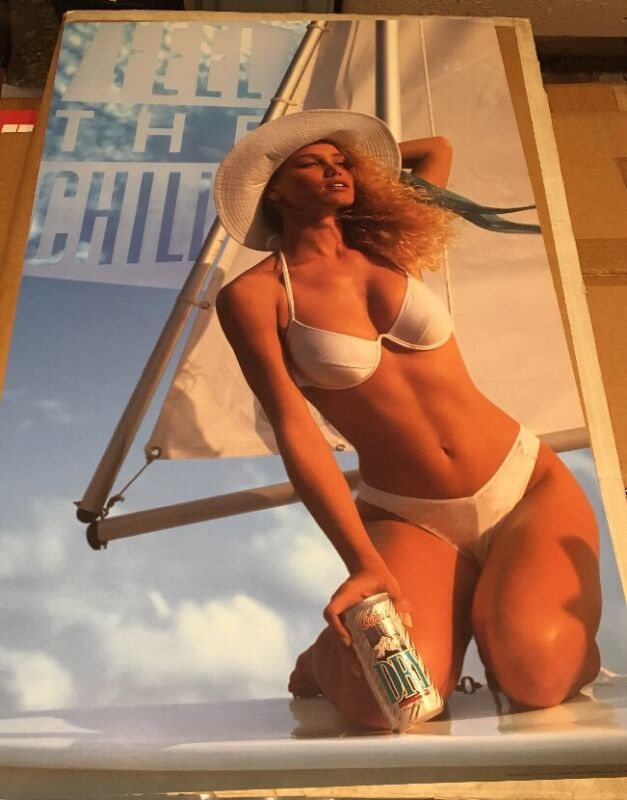 Vintage 1991 Coors Dry Poster - Feel The Chill - Sexy Blonde Boat Bikini