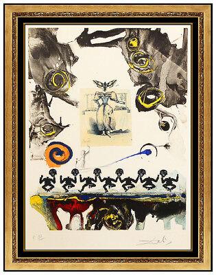 Salvador Dali Large Color Etching Hand Signed Surrealist Gastronomy Framed Art