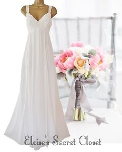 MONSOON WYATT Vintage Inspired Ivory Silk Beaded Wedding Dress 10