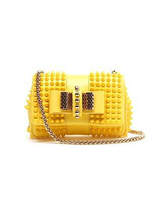 100% AUTH NEW CHRISTIAN LOUBOUTIN YELLOW SWEETY CHARITY STUD BAG/HANDBAG/PURSE