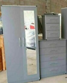 💕💕X-MAS SALE💕💕SET INCLUDES WARDROBE,CHEST OF DRAWERS,BEDSIDE FOR SALE WITH DELIVERY