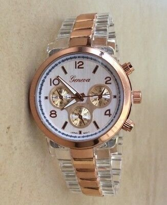 (Geneva Women's Watch Round Silver Dial Rose Gold & Transparent Linked Band NEW!)