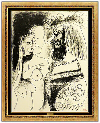 Pablo Picasso Le Vieux Roi Color Lithograph Nude Female Portrait Artwork Signed for sale  Shipping to Canada