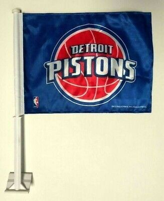 Detroit Pistons Double Sided Car Window Flag with White Pole - NEW! Detroit Pistons Flag