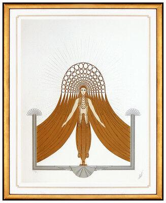 Erte Circe Embossed Color Serigraph Dress Design Hand Signed Fashion Art Deco