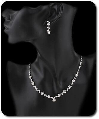 Schmuckset Kette Ohrringe Set  Halskette Strass Braut Hochzeit Klar/Silber