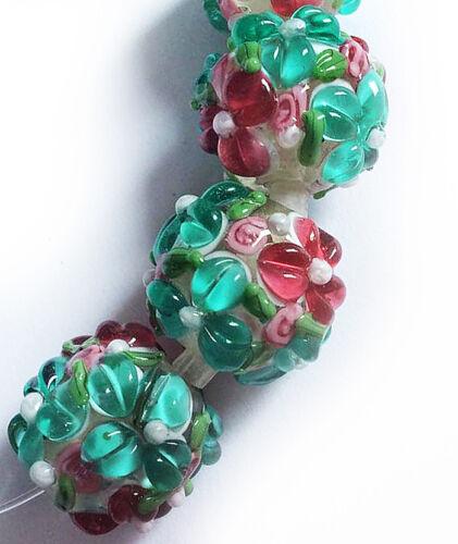 Lampwork Glass Flower Beads Raised Petals Sea Green 15 mm 4 Beads (#a33g)