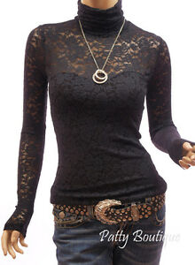 Sexy Black Floral Lace Turtleneck Long Sleeve Blouse Top